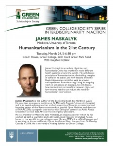 Humanitarianism in the 21st Century – James Maskalyk – March 24th, 5 pm